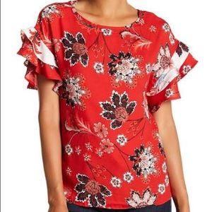 Como Vintage Double Mix Print Blouse Red Floral